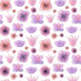 Gezeichnetes nahtloses Muster des Aquarells Hand mit Blumen lizenzfreies stockbild