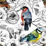 Gezeichnetes nahtloses Muster des Aquarells Hand mit tropischen Sommerblumen und exotischen Vögeln Stockbild