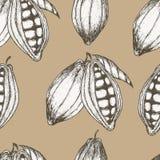 Gezeichnetes nahtloses Muster des Kakaos Hand Auch im corel abgehobenen Betrag Lizenzfreies Stockbild