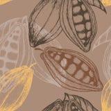 Gezeichnetes nahtloses Muster des Kakaos Hand Auch im corel abgehobenen Betrag Lizenzfreie Stockfotografie