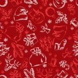 Gezeichnetes nahtloses Musterdesign der frohen Weihnachten Hand Lizenzfreie Stockfotos