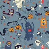 Gezeichnetes nahtloses Retro- Muster Halloweens Hand Lizenzfreie Stockfotos