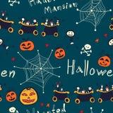 Gezeichnetes nahtloses Retro- Muster Halloweens Hand Stockbild