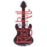 Gezeichnetes Plakat der Weinlese Hand mit E-Gitarre und Beschriftungsrock-and-roll auf Schmutzhintergrund Stockfotos