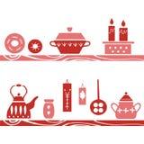 Gezeichnetes Plakat des Vektors Hand im Stil ` Hygge-` Küchengeschirr in den skandinavischen Volksmustern Lizenzfreies Stockbild