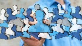 Gezeichnetes Soziales Netz der Geschäftsmannzeichnung Hand Stockfoto