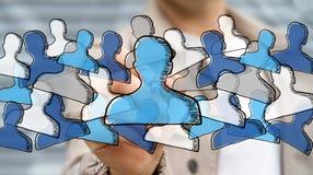 Gezeichnetes Soziales Netz der Geschäftsmannzeichnung Hand Lizenzfreies Stockfoto
