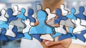 Gezeichnetes Soziales Netz der Geschäftsmannzeichnung Hand Lizenzfreie Stockfotografie