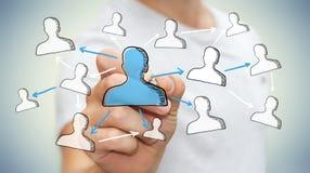 Gezeichnetes Soziales Netz der Geschäftsmannzeichnung Hand Lizenzfreie Stockfotos