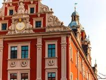 Gezellig ouderwets RenaissanceStadhuis op het Marktvierkant in Gotha, Duitsland Royalty-vrije Stock Foto's