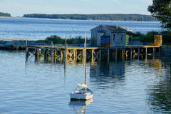 Gezellig ouderwets visserijdorp in Maine Stock Foto's