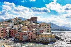Gezellig ouderwets visserijdorp van Boccadasse, Genua royalty-vrije stock foto's