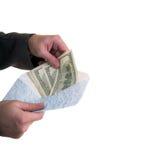 Gezet geld in de envelop Stock Afbeelding