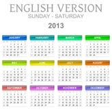 gezeten zon van de de kalender de Engelse versie van 2013 - vector illustratie
