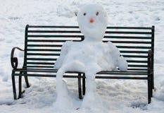 Gezette sneeuwman Royalty-vrije Stock Foto's