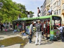 Gezi Park protests. Damaged public bus being used as barricade. Istanbul, Turkey - June 9, 2013: Gezi Park protests. Damaged public bus being used as barricade royalty free stock photos