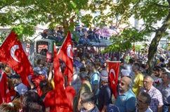 Gezi Park protests. Damaged public bus being used as barricade. Istanbul, Turkey - June 9, 2013: Gezi Park protests. Damaged public bus being used as barricade stock image