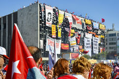 Gezi Park protests. Demonstrators in Taksim Square stock photography