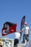 Gezi Park protests. A protester waves a flag of Ataturk Stock Photo