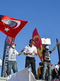 Gezi Park protests. A protester waves a flag of Ataturk Royalty Free Stock Images
