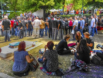 Gezi Park protests. When speaking groups of protesters. Stock Photo