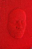 Gezicht aan de rode raad die van de speldkunst wordt gedrukt stock afbeeldingen