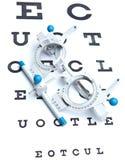 gezicht dat bril & ooggrafiek meet stock foto's