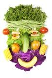 Gezicht dat van vruchten en groenten wordt gemaakt stock fotografie