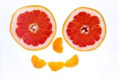 Gezicht door verse vruchten Stock Foto