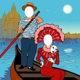 Gezicht in een gat. Venetië. vector illustratie
