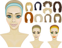 gezicht girl.make-up.hairstyles.game Stock Afbeelding