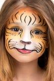 Gezicht het schilderen tijger Royalty-vrije Stock Afbeeldingen