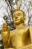 Gezicht, hoofd, hand, Gouden Beeld van Boedha in Wat Khao Ruak Phichit Thailand Stock Foto