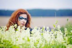 Gezicht-kunst portret van een mooie vrouw Stock Foto