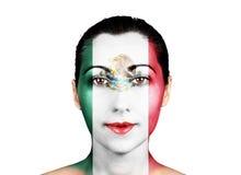 Gezicht met de vlag van Mexico stock afbeeldingen