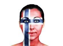 Gezicht met de vlag van Noorwegen royalty-vrije stock fotografie