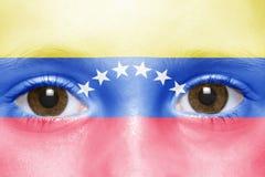 gezicht met Venezolaanse vlag Royalty-vrije Stock Foto