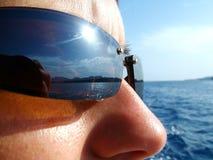 Gezicht met zonnebril Stock Foto's