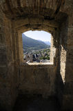 Gezicht over Briançon dat van fort, Franse Alpen wordt gezien stock foto