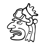 Gezicht in stijl van Maya Indians, vectorillustratie Stock Afbeelding