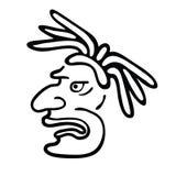 Gezicht in stijl van Maya Indians, vectorillustratie Royalty-vrije Stock Foto's