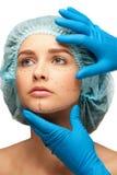 Gezicht vóór plastische chirurgieverrichting royalty-vrije stock afbeelding