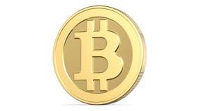 Gezicht van cryptocurrency gouden bitcoin, het 3d teruggeven op witte achtergrond geïsoleerd 3d illustratie, concept van Stock Foto's