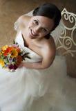 Gezicht van een gelukkige jonge bruid Royalty-vrije Stock Foto