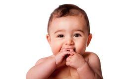 Gezicht van een leuke babyzuigeling Stock Foto