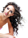 Gezicht van een mooie donkerbruine vrouw Royalty-vrije Stock Foto