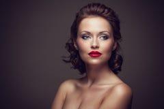 Gezicht van een mooie sexy donkerbruine vrouw Stock Foto