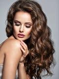 Gezicht van een mooie vrouw met lang bruin haar stock afbeeldingen
