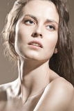 Gezicht van een sexy meisje met natuurlijke make-up Stock Foto's