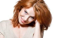 Gezicht van een sexy redhead meisje Stock Foto